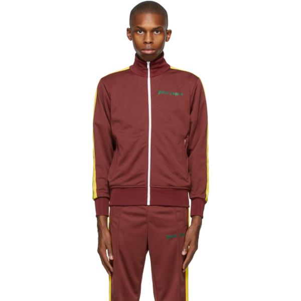 Palm Angels Men's Jersey Track Jacket W/ Stripes In Burgundy Gr