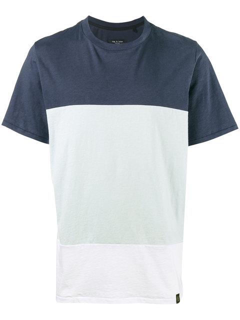 Rag & Bone Rag And Bone Blue And White Precision T-Shirt In 451 Blue/ White