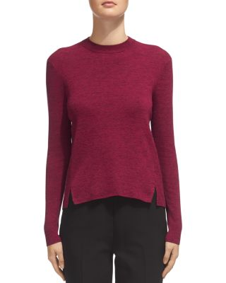 Whistles Notched-Hem Cropped Sweater In Raspberry