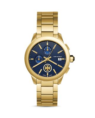 Tory Burch Collins Chronograph Bracelet Watch, Golden/Navy In Blue/Gold
