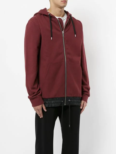 Public School Langston Oversized Shell-Trimmed Cotton-Jersey Zip-Up Hoodie In Red