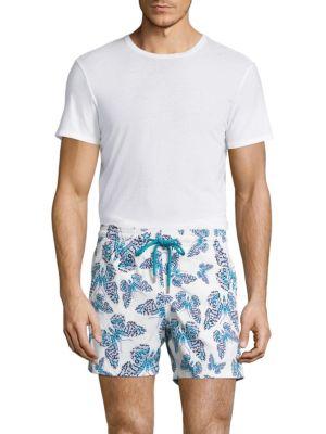 Vilebrequin Moorise Butterfly-Print Swim Trunks In Azure