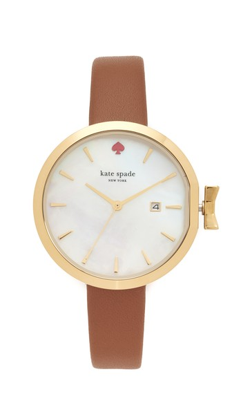 Kate Spade Park Row Leather Strap Watch, 34Mm In Brown/White/Gold