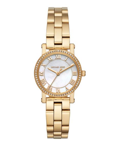 Michael Kors 28Mm Petite Norie Bracelet Watch, White/Golden, Gold