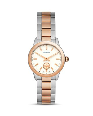 Tory Burch Collins Two-Tone Bracelet Watch, Silvertone/Rose-Golden In Silver/ Ivory/ Rose Gold