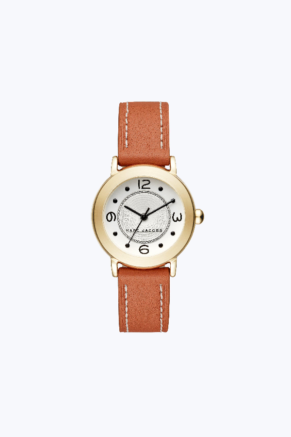 Marc Jacobs Round Leather Strap Watch, 28Mm In Tan/Gold