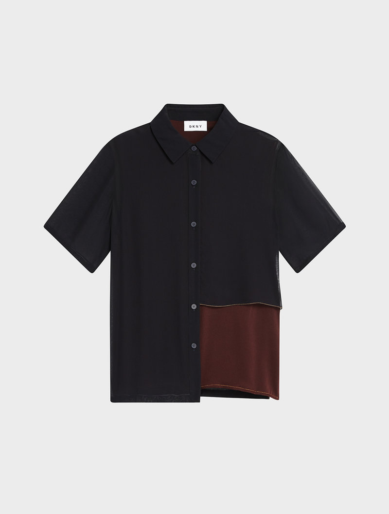 Dkny Short Sleeve Button Down With Contrast Stitching In Blue