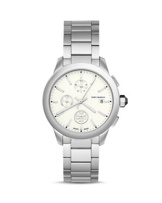 Tory Burch Collins Stainless Steel Chronograph Bracelet Watch In White/Silver