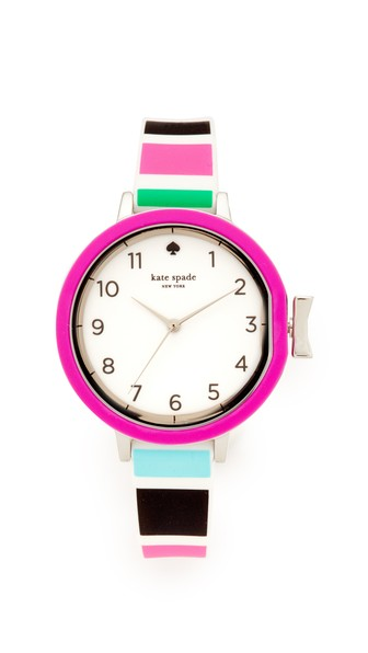 Kate Spade Multi Stripe Silicone Park Row Watch In Multi/Stainless Steel