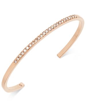 Kate Spade Gold-Tone Pave Skinny Cuff Bracelet In Rose Gold