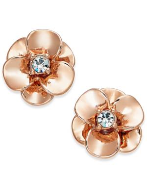 Kate Spade New York Crystal Flower Stud Earrings In Rose Gold