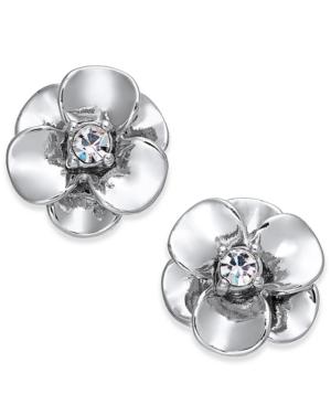 Kate Spade New York Crystal Flower Stud Earrings In Silver