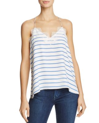 Cami Nyc Striped Silk Racer-Back Tank In White/Blue