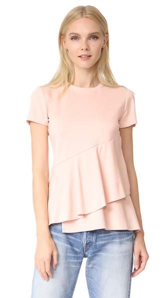 Dkny Short Sleeve Ruffle Top In Blush