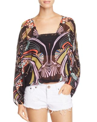 Free People Beneath The Sea Butterfly Top In Black