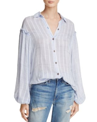 Free People Headed To The Highland Semi-Sheer Shirt In Blue