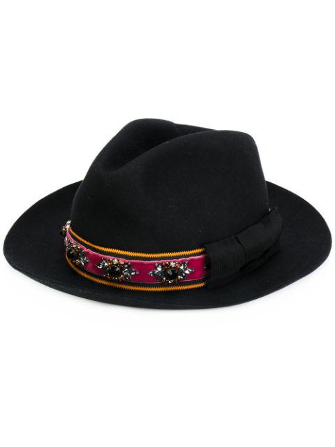 Etro Embellished Brimmed Hat In Black