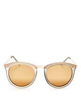 Le Specs Women's No Smirking Mirrored Polarized Round Sunglasses, 50Mm In Mist Matte/Gold Mirror Polarized