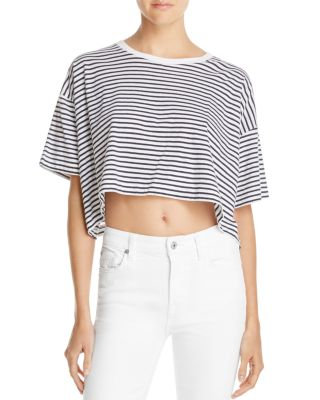 T By Alexander Wang Striped Cotton-Jersey T-Shirt In White