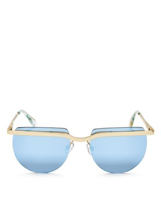 Le Specs Mafia Moderne Mirrored Sunglasses, 52Mm In Brushed Gold/Blue Mirror
