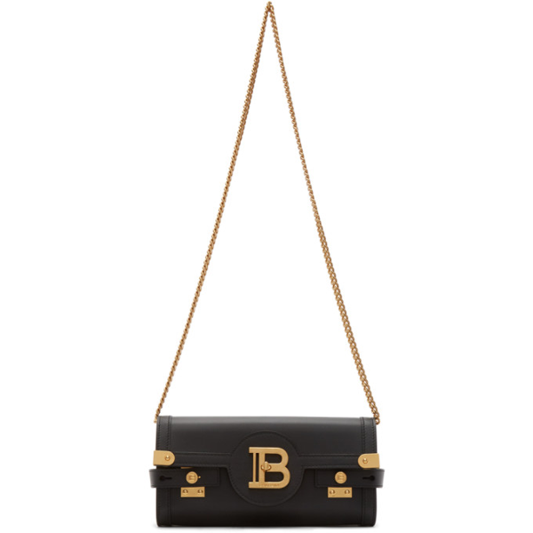 Balmain B-buzz 23 Small Leather Crossbody Bag In 0pa Black