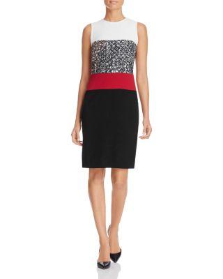 Paule Ka Color-Block Sheath Dress In Noir