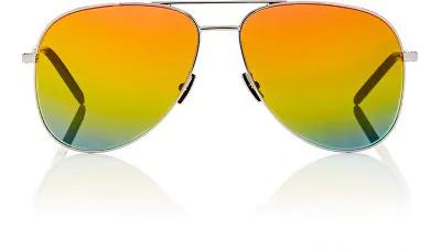 0b52876e2f6d1 Saint Laurent Women s Classic Brow Bar Mirrored Aviator Sunglasses ...