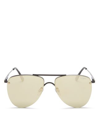 Le Specs Women's The Prince Mirrored Rimless Brow Bar Aviator Sunglasses, 57Mm In Matte Black/Gold Revo Mirror
