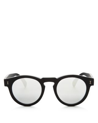 Illesteva Leonard Mirrored Round Sunglasses, 48Mm In Matte Black/Silver Mirror