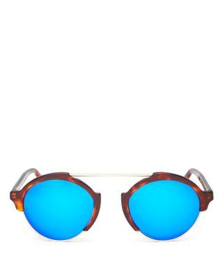 Illesteva Milan Iii Mirrored Sunglasses, 54Mm In Havana/Blue Mirror