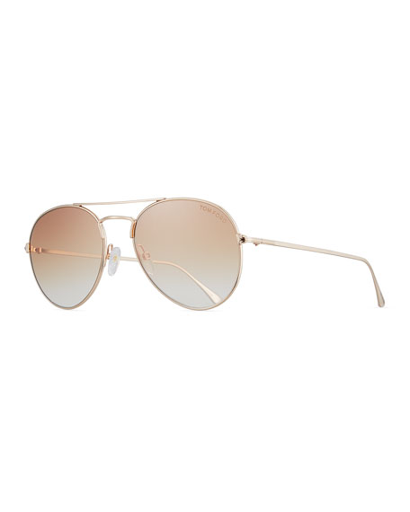 Tom Ford Ace Aviator Sunglasses, Rose Gold In Silver