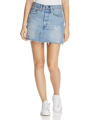 Levi's Distressed Denim Mini Skirt In American Wild