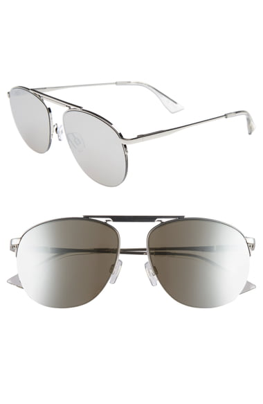 Le Specs Women's Liberation Mirrored Brow Bar Aviator Sunglasses, 57Mm In Silver