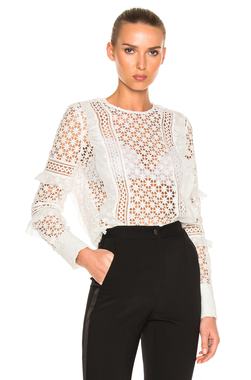 Self-Portrait Self Portrait Daisy Frill Detail Blouse In White