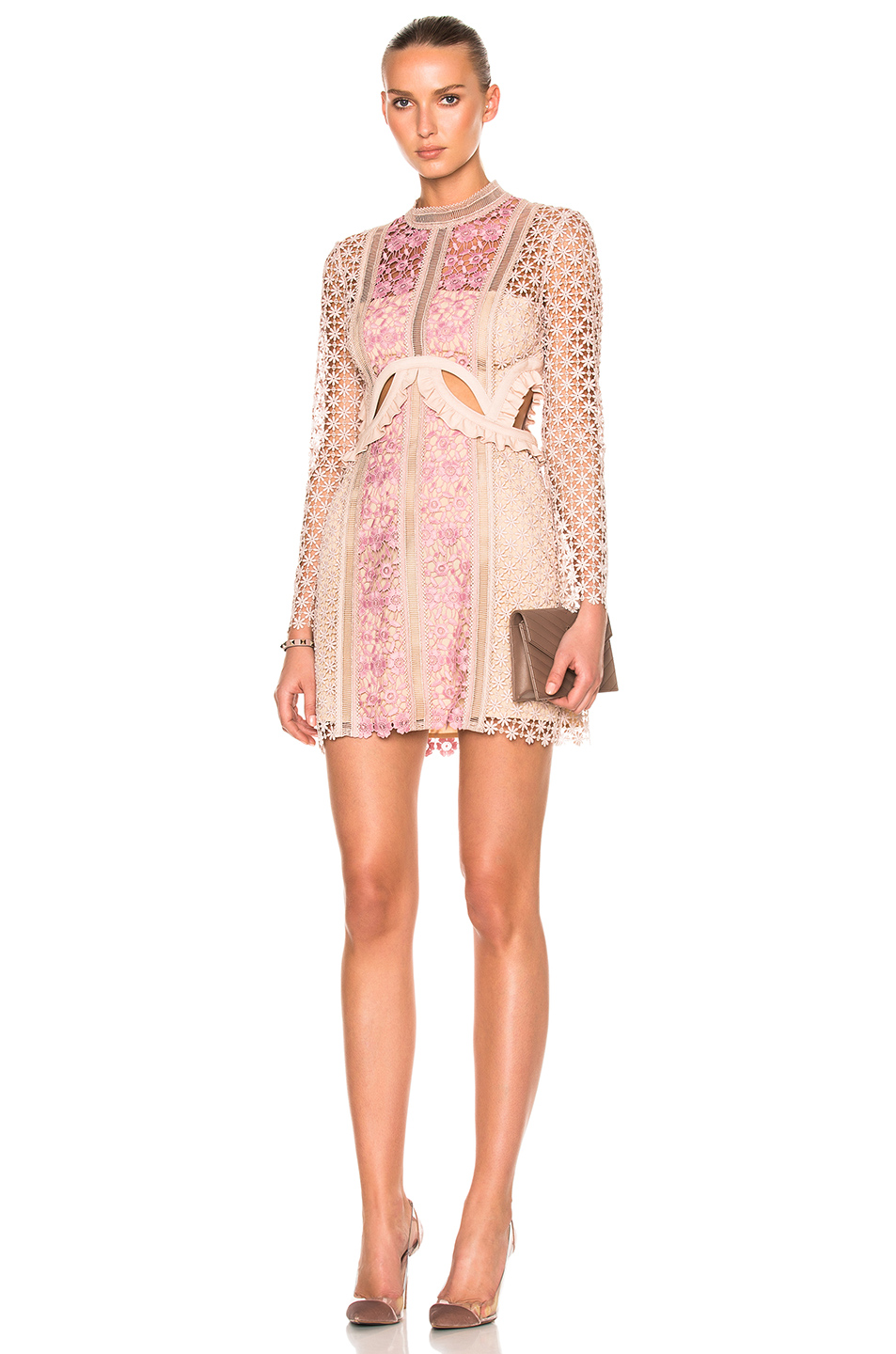 Self-Portrait Payne Cutout Floral Lace Mini Dress In Florals,Neutrals,Pink