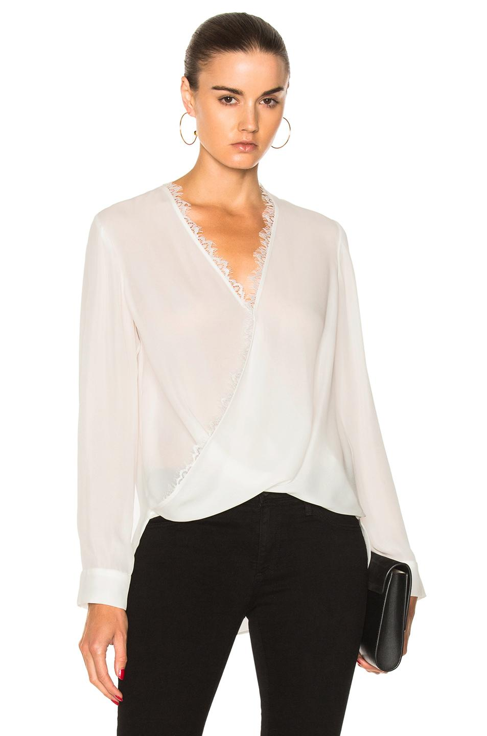 L'Agence Rosario Lace Trimmed Silk Top In Ivory
