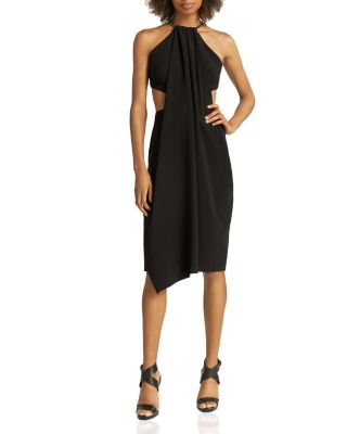 Halston Heritage Chain-Strap Crepe Cutout Dress In Black