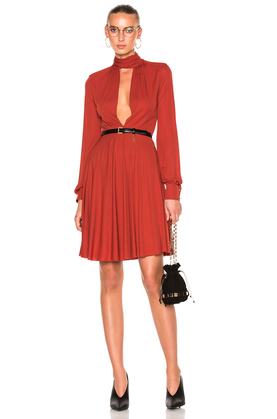 Giambattista Valli Long Sleeve Dress In Orange