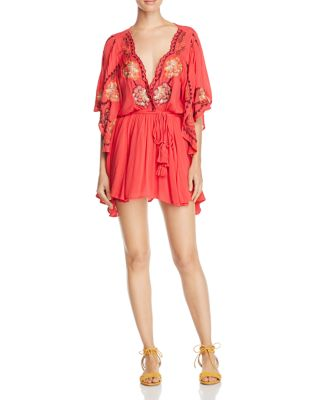 Free People Cora Floral-Embroidered Woven Mini Dress In Red