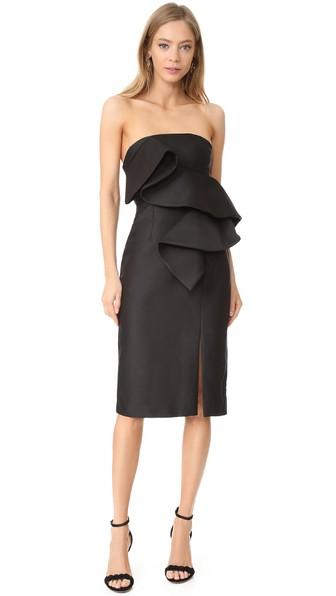 Keepsake Awake Strapless Ruffle Dress In Black