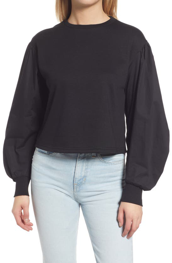 Vero Moda Blouson Sleeve Mix Media Sweatshirt In Black