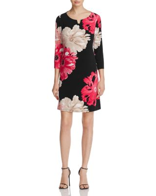 Calvin Klein Floral Print Shift Dress In Black/Rose Combo