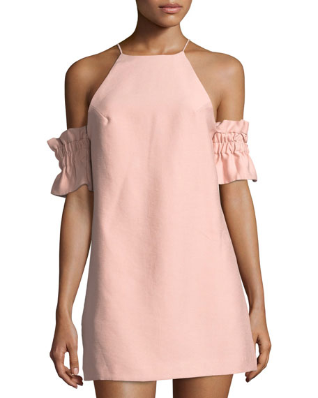C/Meo Collective Double Take Cold-Shoulder Mini Dress In Pink