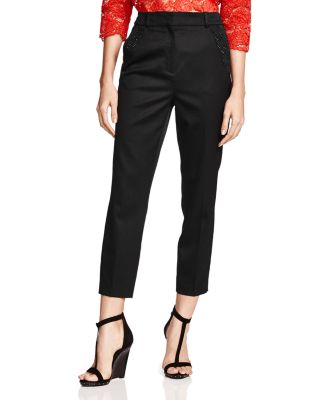The Kooples Cropped Leather-Waist Pants In Black