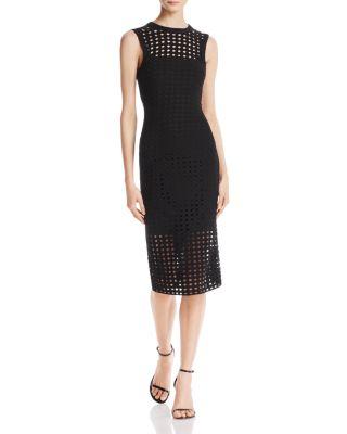 T By Alexander Wang Eyelet Jacquard Midi Dress In Black