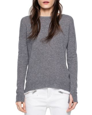 Zadig & Voltaire Cici Patched Cashmere Sweater In Light Gray