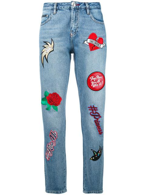 Philipp Plein Embroidered Cropped Jeans