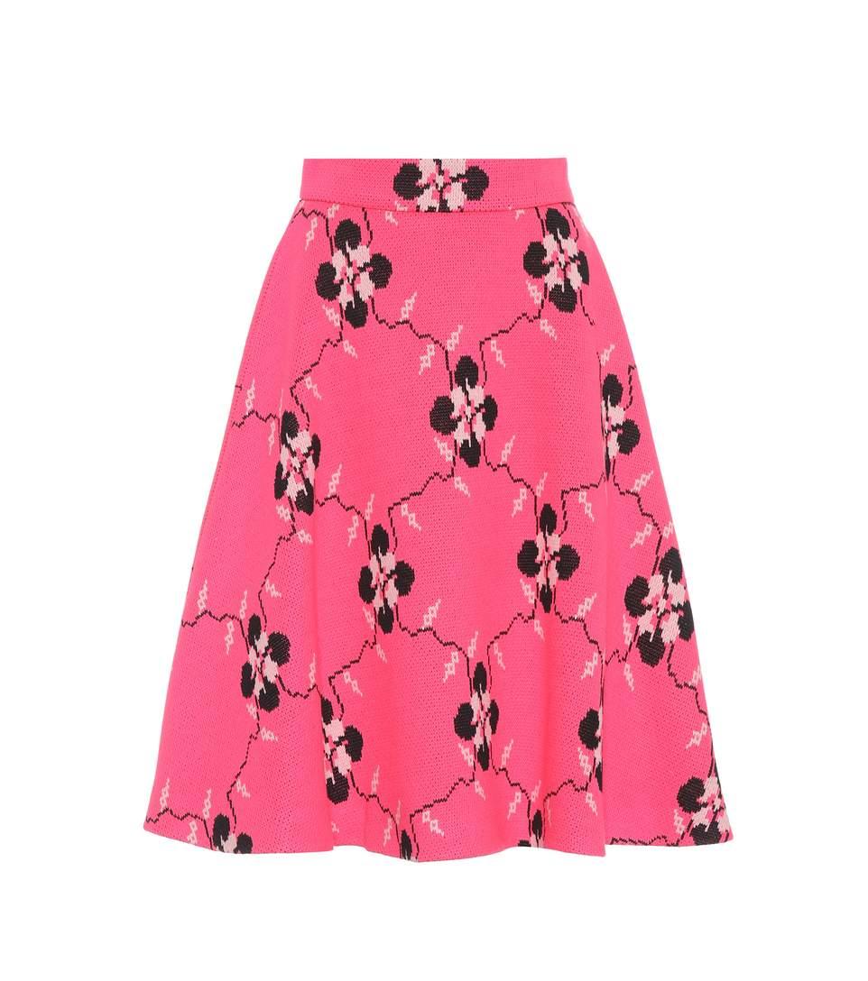Miu Miu Floral Jersey A-Line Skirt In Pink