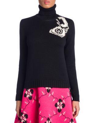 Miu Miu Roll-Neck Telephone-Intarsia Wool Sweater In Black