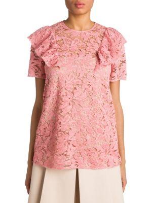 Miu Miu Ruffle Lace Top In Pink
